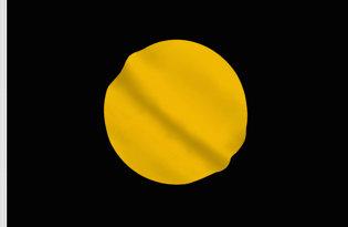 Drapeau noir avec rond jaune