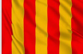 Drapeau de course à bandes rouges et jaunes