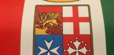 Détail du drapeau italien Marine Militaire